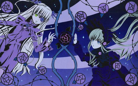 Обои Barasuishou и Shinku / Синку из аниме Rozen Maiden / Девы Розена, art by Peach-pit