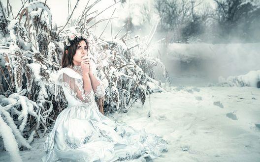 Обои Девушка в белом платье и венке на голове сидит на снегу
