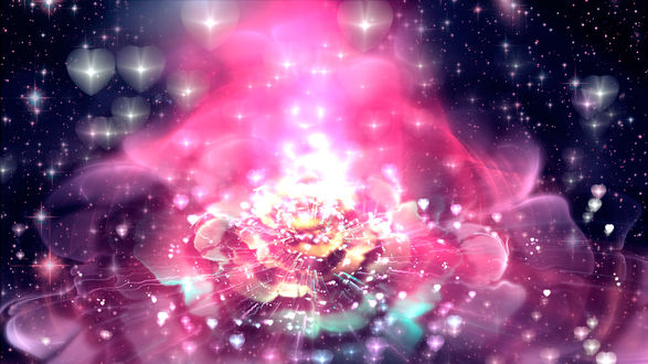 Обои Розовый абстрактный радиоактивный цветок
