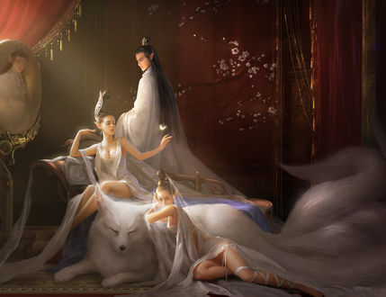 Обои Девушки и парень - эльфы с белой лисой и у бабочкой над рукой, ву Jianyachi