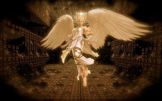 Обои Прекрасный Белый Ангел Хранитель