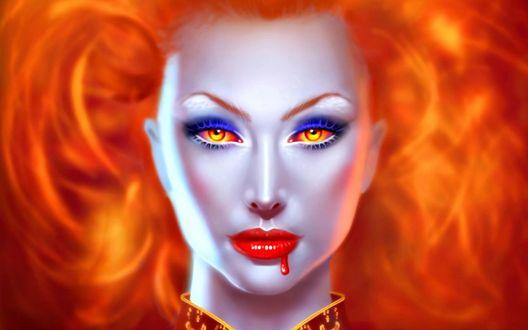 Обои Рыжая девушка вампир
