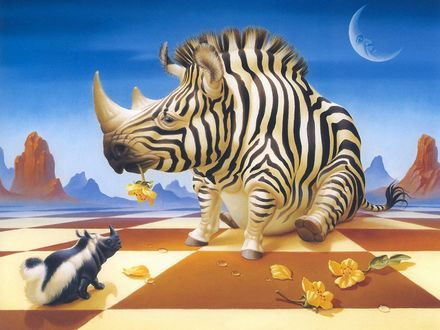 Обои Два фантастических зверя, скунсоносорог и зеброносорог, работа Ilene Meyer