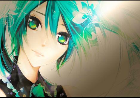 Обои Vocaloid Hatsune Miku / Вокалоид Хатсуне Мику на сером фоне