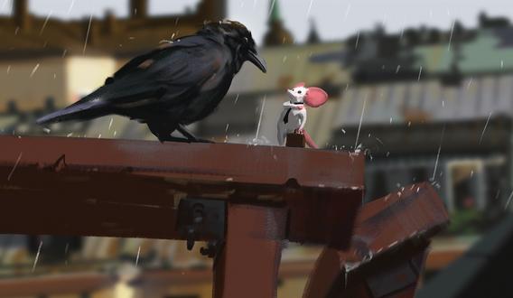 Обои Мышка с дипломатом и черный ворон