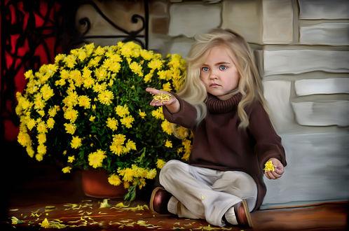 Обои Девочка с лепестками хризантем