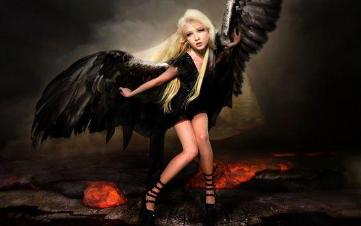 Обои Девушка с черными крыльями