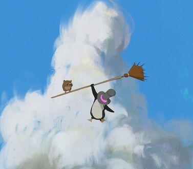 Обои Пингвин в шляпе висит на метле, на которой сидит сова, ву Atey Ghailan