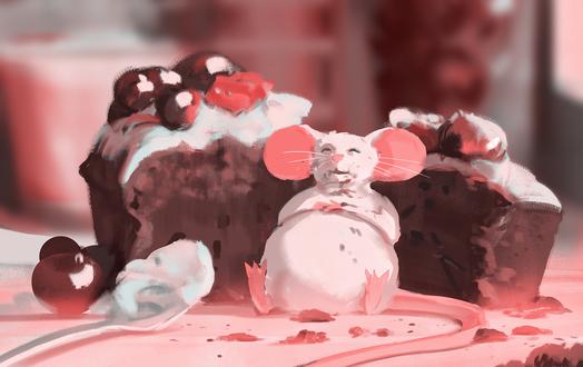 Обои Объевшаяся тортом мышка заснула на месте своего преступления