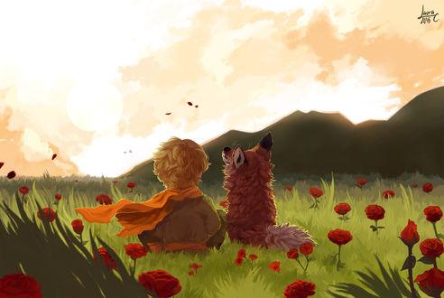 Обои Маленький принц с лисой сидят на траве среди красных роз и смотрят в небо, by Kelirth