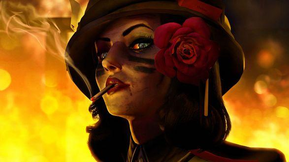 Обои Элизабет / Elizabeth / с сигаретой и в шлеме - персонаж компьютерной игры BioShock Infinite