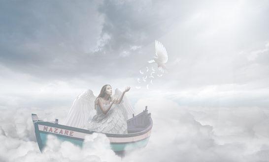 Обои Девушка в лодке на облаках, ву Jackson Carvalho