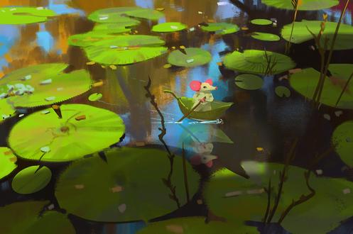 Обои Мышка плывет в лодке из зеленого листочка по пруду