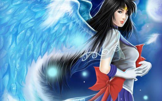 Обои Сейлор Сатурн / Sailor Saturn в образе ангела персонаж из аниме Красавица-воин Сейлор Мун / Bishoujo Senshi Sailor Moon