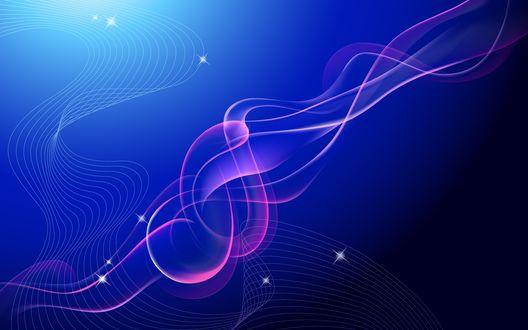 Обои Абстрактные векторные линии на синем фоне