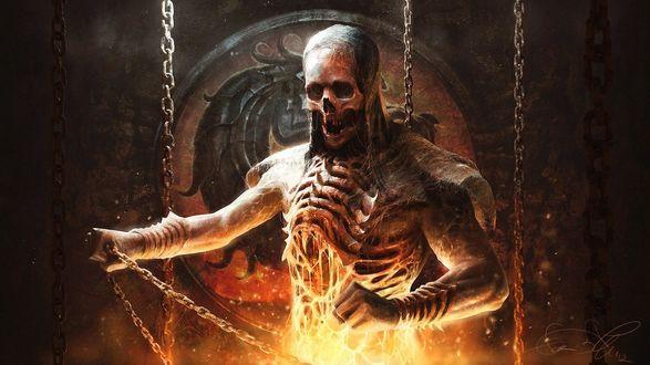 Обои Популярный персонаж серии игр Mortal Kombat - Скорпион / Scorpion / в цепях, среди огня