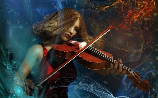 Обои Симпатичная девушка играет на скрипке