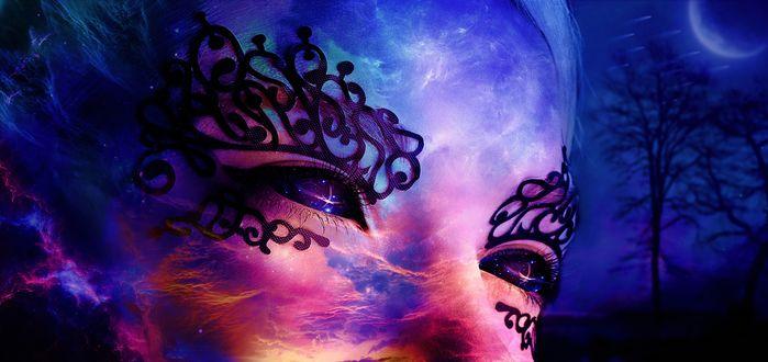 Обои Лицо девушки с ажурными черными рисунками вокруг глаз, на фоне ночного неба, by tylerreitan