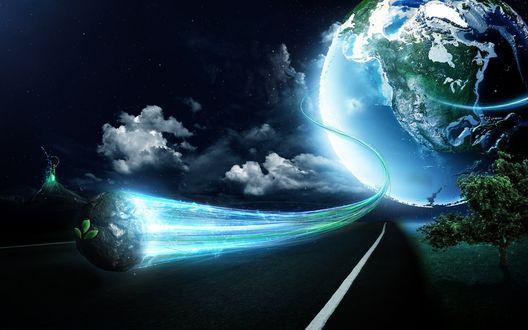 Обои Над ночной трассой мчится планета с зелеными листьями, оставляя за собой голубой огненный хвост