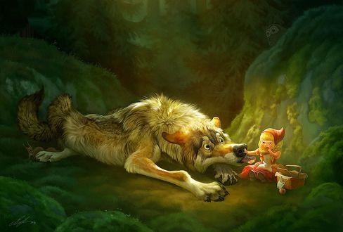 Обои Красная Шапочка кушает бутерброд и не не дает есть Серому Волку, by ailah