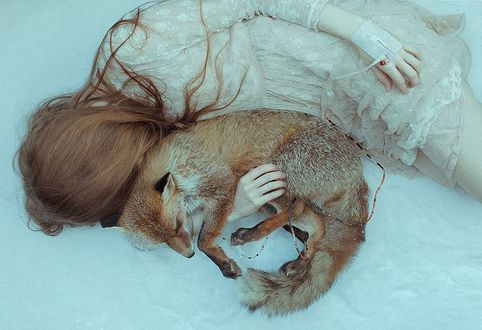 Обои Рыжеволосая девушка в белом платье спит на снегу, обнимая спящую лису, by aura makabresku