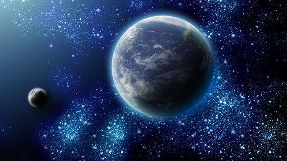Обои Планеты и Млечный путь в космосе