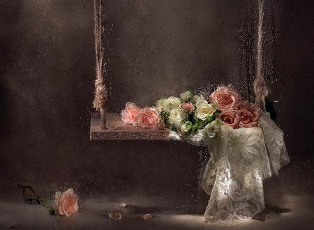 Обои За стеклом с каплями дождя розы лежат на качели