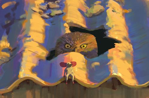 Обои Сова наблюдает за мышкой через щель в крыше