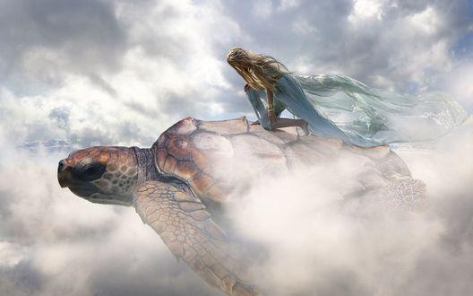 Обои Девушка парит в небе на черепахе