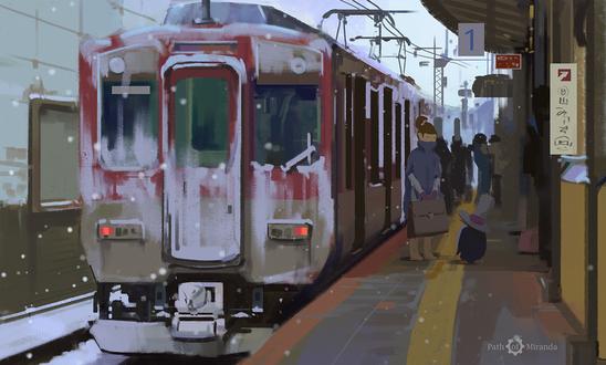 Обои Пингвин встречает девушку с поезда, by snatti89