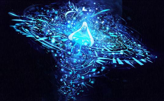 Обои Девушка держит в руках шар, из которого выходят голубые нити, образуя абстрактный узор, обволакивающий ее, by bounin