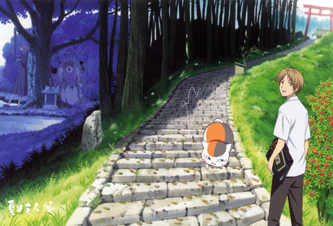 Обои Takashi Natsume / Такаши Нацумэ, Nyanko-sensei / Нянко-сенсей и невидимый мир екаев из аниме Natsune Yuujinchou / Тетрадь друзей Нацумэ, art by Yuki Midorikawa