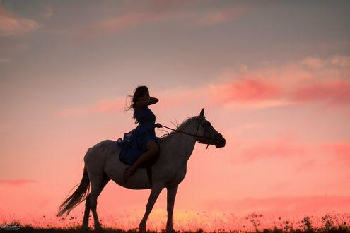 Обои Девушка на лошади на фоне заката солнца, фотограф Алина Попова