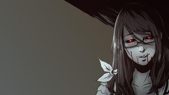 Обои Rize Kamishiro / Ризэ Камиширо слизывает языком кровь из аниме Tokyo Ghoul / Токийский гуль