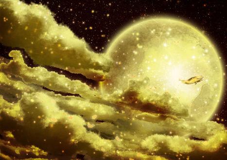 Обои Золотой кит в ночном небе на фоне полной луны