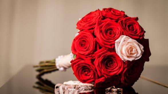 Обои Букет ярких роз и два обручальных кольца