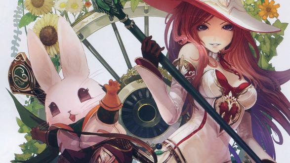 Обои Девушка, Ведьма, Кролик
