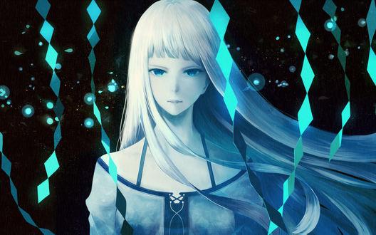Обои Девушка с длинными волосами и голубыми глазами, by bounin