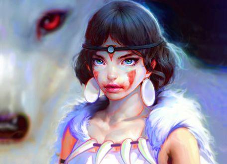 Обои Принцесса Мононокэ Сан / San и богиня-волчица Моро / Moro из аниме Princess Mononoke / Принцесса Мононоке / Mononoke Hime, by Nad4r