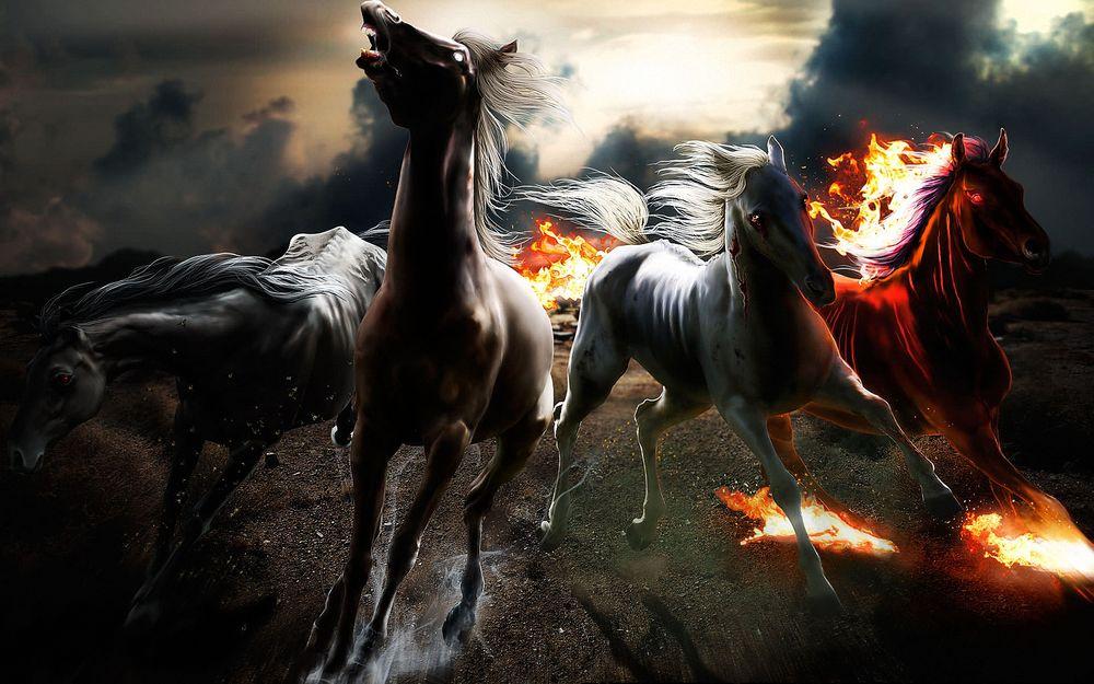 Обои для рабочего стола Лошади убегают от огня