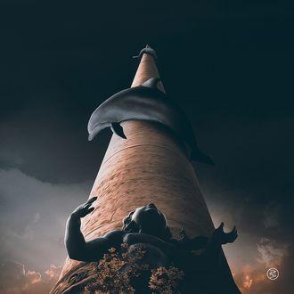 Обои Фигура мальчика Ангелочка возле колонны, вокруг которой обвились дельфины, by BesnikMeti