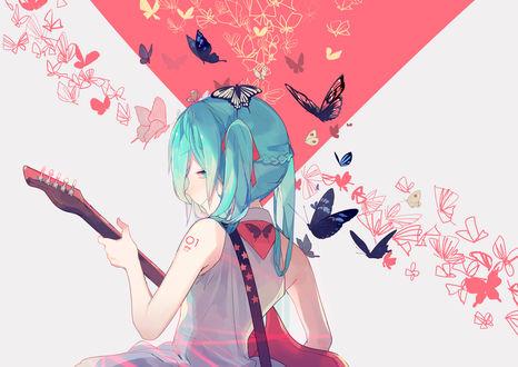 Обои Vocaloid Hatsune Miku / Вокалоид Хатсуне Мику с гитарой в окружении бабочек, art by Yuutsuki Basetsu