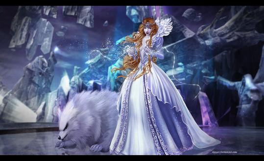 Обои Aion / Айон, героиня компьютерной игры рядом с фантастическим животным, by Alenari
