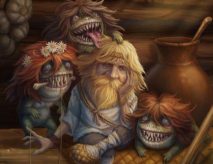 Обои Старик и сказочные страшные персонажи вокруг него, by baklaher