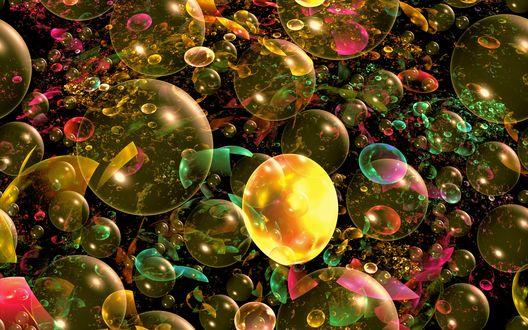 Обои Разноцветные пузырьки на черном фоне