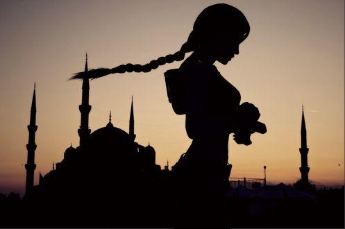 Обои Lara Croft / Tomb Raider / Лара Крофт / Тень девушки на фоне заката