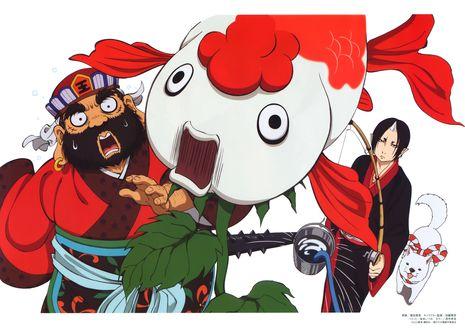 Обои Хозуки / Hoozuki с Enma Daiou ловят рыбу из аниме Хладнокровный Хозуки / Hoozuki no Reitetsu, art by Natsumi Eguchi