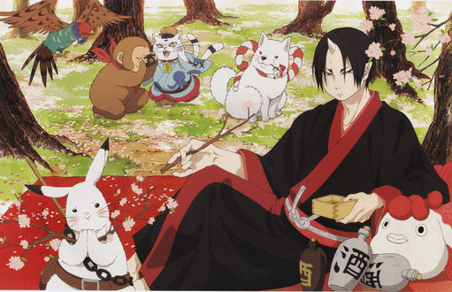 Обои Хозуки / Hoozuki с Koban, Kakisuke, Karashi и Rurio устроили пикник под цветущей сакурой из аниме Хладнокровный Хозуки / Hoozuki no Reitetsu, art by Natsumi Eguchi