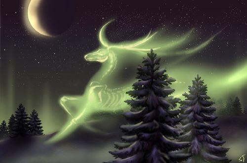 Обои Образ сказочного оленя на небе