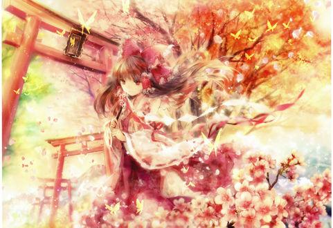 Обои Reimu Hakurei / Рейму Хакурей стоит перед воротами японского храма, из игры Проект Восток / Touhou Project, art by Onineko